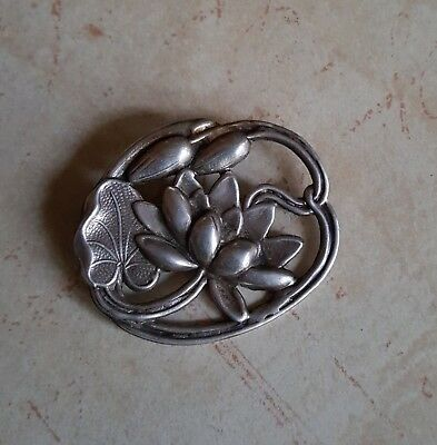 Antique Art Nouveau Repousse Sterling Silver Water Lily Lotus Flower Pin Brooch