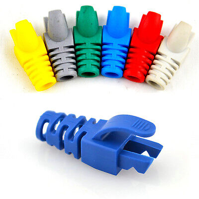 50X Network RJ45 Cable Ends Plug Connector Cover Boots Cap Cat5 Cat6 Safety  Fsp