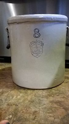 VINTAGE colbalt blue UHL 8 GALLON CROCK with handles  PICK UP ONLY
