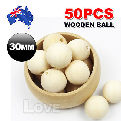 50pcs 30mm Natural Wood Bead Unpainted round Wooden Beads Spacer Ball Teething