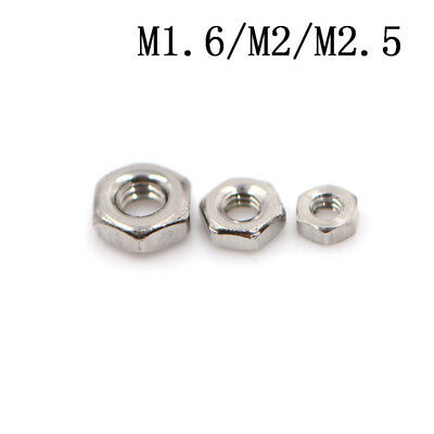 50X 304 Stainless Steel Hex Nuts Hexagon Nuts M1.6,M2,M2.5 JS