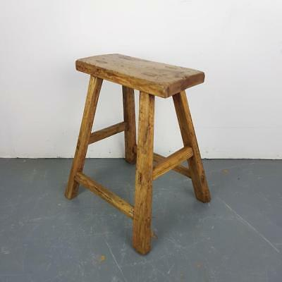 Vintage Rustic Antique Wooden Stool Milking Large Waxed W86