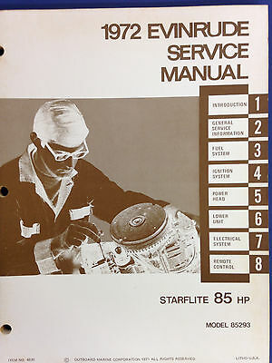1972 Evinrude Service Manual Starflite 80HP 85293 Outboard Repair Shop 4820