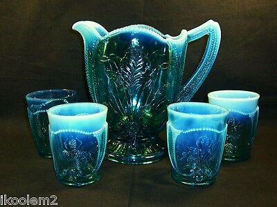 "Beautiful Northwood Eapg ""wild Bouquet"" (Iris) Opalescent Blue 5 Piece Water Set"