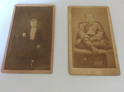 2 Antique Cabinet Card Photos Different Boys Stylish Victorian Attire Late 1800s