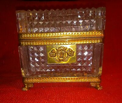 Antique French Cut Crystal Footed Jewelry Casket Box Gilt Bronze 19th Century