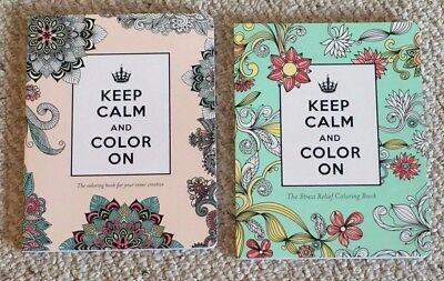 Lot of 2 Keep Calm & Color On Inspiring Floral & Animal Adult Coloring Books BN