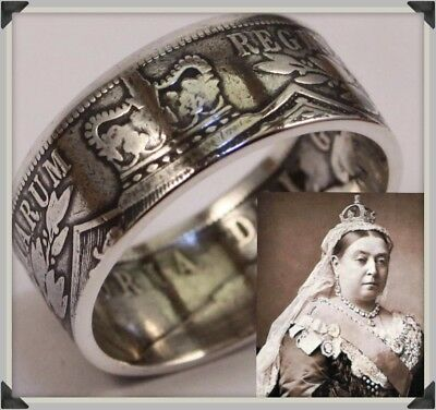 Silver Coin Ring. .925 Silver Victorian 1885 Half Crown. Size T. Resize Q to X.