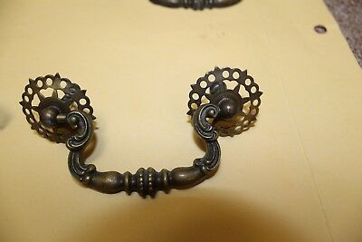 Antique Solid Brass Ornate Drawer Pulls