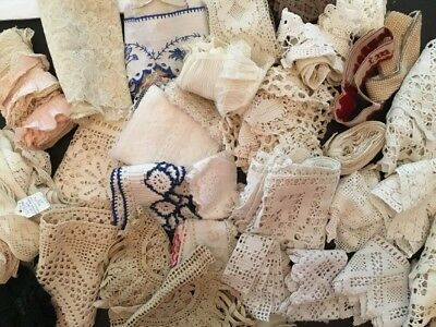 Lot Of Victorian And Vintage Lace, Trim, And Eyelet Z2