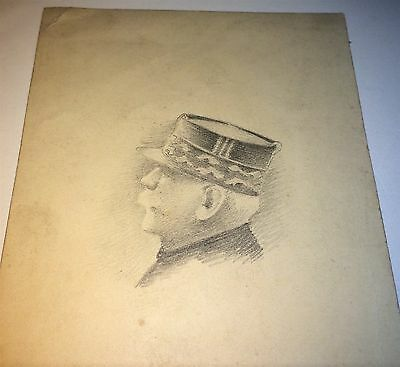 Rare Antique World War 1 French Military Officer Pencil Drawing on Postcard! Art