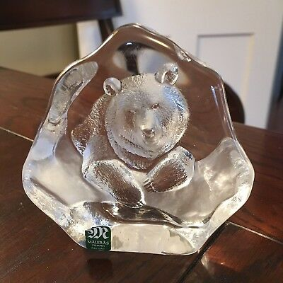 Målerås Sweden Full Lead Crystal Handmade BEAR Paperweight - with Sticker