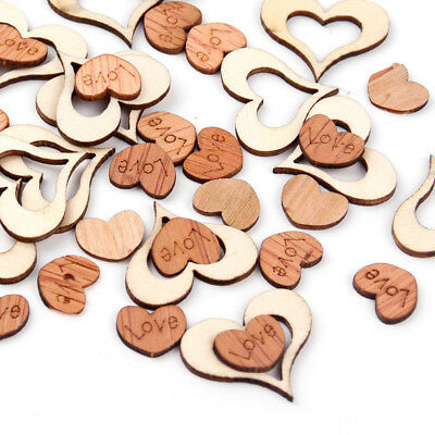 100pcs Rustic Wooden Love Heart Wedding Table Confetti Scatter Decor Wood Crafts
