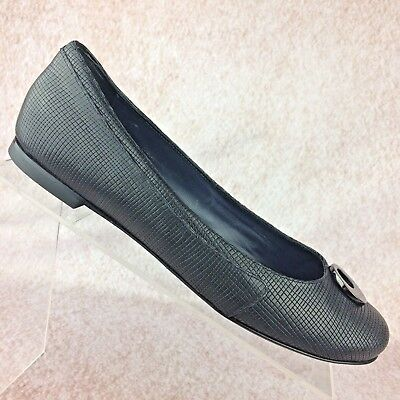 81de5d87a93460 Armani Collezioni Ballet Flats Shoes Black Leather Circle Toe 39.5 EUR   7.5-8 US