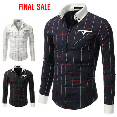 [FINAL SALE]Doublju Mens Casual Slim Fit Plaid Shirts