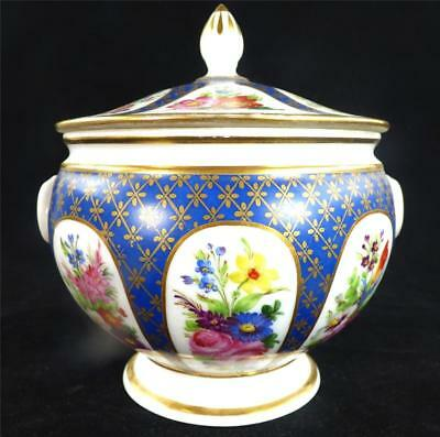 Antique 19Th Century French Old Paris Porcelain Sugar Bowl And Cover