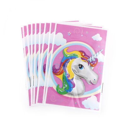 10xUnicorn Theme Party Gift Bags Candy Loot Kids Birthday DeFsW