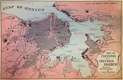 1898 Boston Sunday Herald Map of Havana City and Harbor, Cuba - ORIGINAL