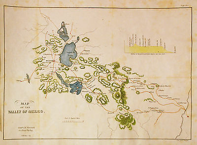 1847 U.S. War Department Map of the Valley of Mexico (Mexican-American War)