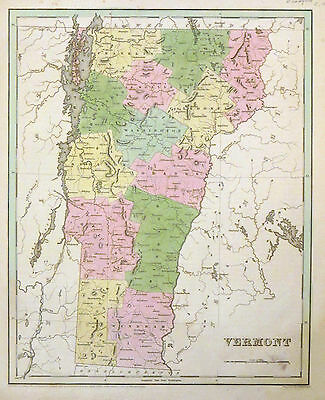 1838 BRADFORD MAP of Vermont showing Counties - ORIGINAL ANTIQUE MAP