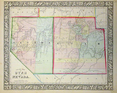 1866 Mitchell Map of Utah and Nevada - Unusual Edition - ORIGINAL ANTIQUE MAP