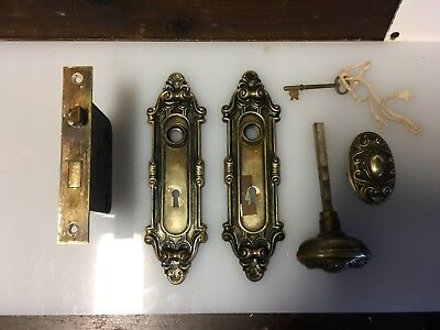 Antique Complete Brass Door Knob Set W/ Mortise Lock, Plates, And Key