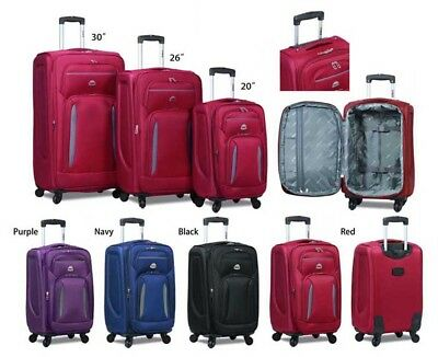 """HiPack"" 3 Piece Light Weight Upright Polyester Spinner Suitcase / Luggage Set"