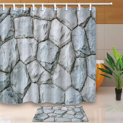 Beautiful Stone Background Decor Polyester Bathroom Shower Curtain 71 In & Hook