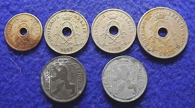 BELGIUM 5, 10, 25 Centimes & 1 Franc 1920 to 1944 - 6 Coins (#1613)