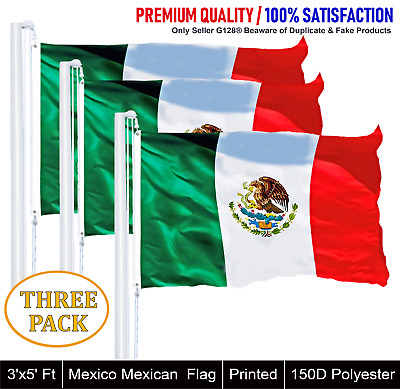 3 PACK Mexico Mexican Flag 3x5ft Printed with Brass Grommets on 150D Polyester