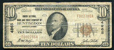 1929 $10 Union Nb & Trust Co. Of Huntingdon, Pa Naitonal Currency Ch. #4965