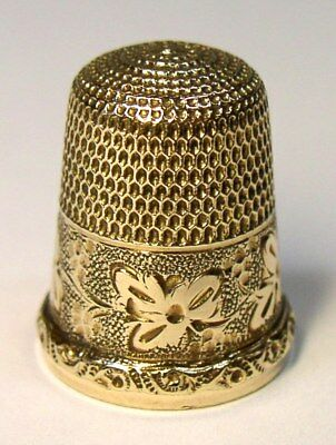 Antique Simons Brothers Gold Thimble Berries Leaves & Vine Pattern  Raised Rim