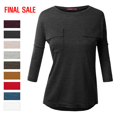 [FINAL SALEDoublju Womens Basic 3/4 Sleeve Crewneck T-Shirt With Pockets