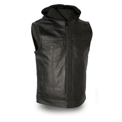 First Mfg Mens Assassin Leather Motorcycle Vest Black S-5XL - Free Shipping