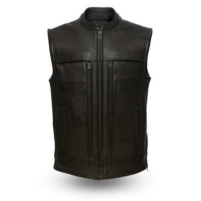 First Mfg Mens Rampage Leather Motorcycle Vest Black S-5XL - Free Shipping