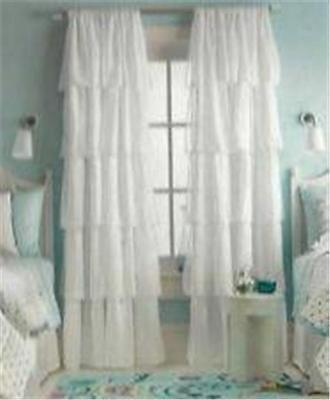 "Xhilaration White Ruffle Ruffled Window Panel Curtain  50"" x 84"""