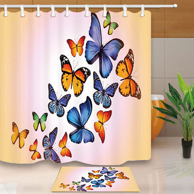 A Group Of Colored Butterfly Bathroom Home Shower Curtain Fabric & Hooks 71""