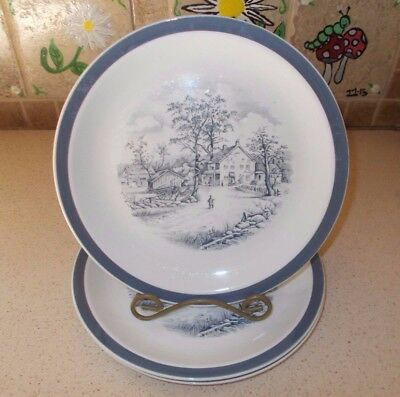 """Set of 3 Alfred Meakin Staffordshire Home In The Country 10"""" Dinner Plates EXC"""