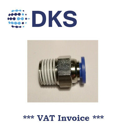 Male Stud Push In Fit Pneumatic Fittings Air 1/4 BSPT to 6mm Fitting  000595