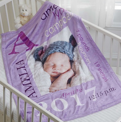 Personalized Baby Boy Girl Blanket with Photo Picture Soft Fleece Newborn Gift