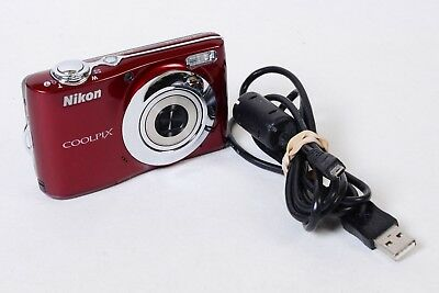 Nikon Coolpix L24 14.0MP 3.6X Optical Zoom  3'' Screen Digital Camera Red Tested