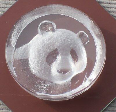 "MATS JONASSON Crystal PANDA BEAR 2"" Paperweight. Trinket.  Etched SIgned Label"
