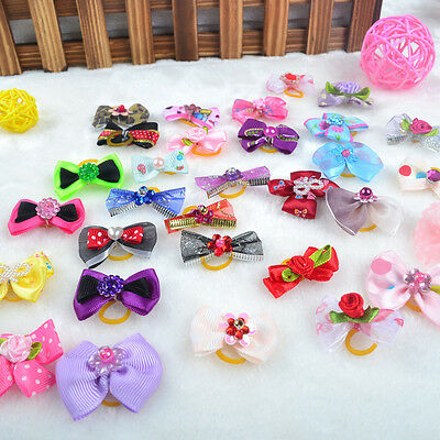10pcs/lot Ribbon Dog Hair Bow Puppy Rubber Band Pet Grooming Accessories Hairpin