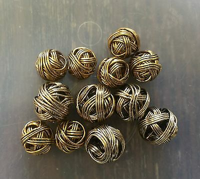 Vintage Gold & Brass Color Metal Wire Woven Nest Organic Roundish Mix Bead Lot