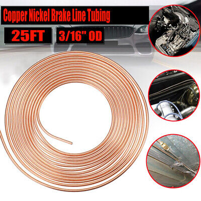 "2x 25ft per Roll Copper Nickel Steel Brake Line Tubing 3/16"" For All Auto"
