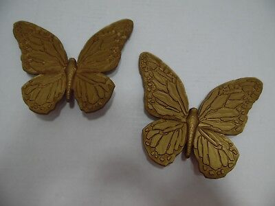Home Interiors Butterfly Wall Plaque Butterflies Set 2 Homco T7040 Gold USA