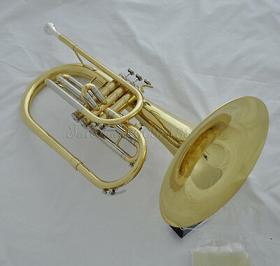 """Professional F key Gold Marching Mellophone Horn with mouthpiece case 10.4"""" bell"""