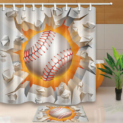 Ball Break White Baffle Shower Curtain Bathroom Waterproof Fabric With Hook 71""