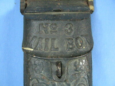 Vintage Cast Iron GRISWOLD Cast Iron Wall Mount MAIL BOX  Ornate All Original #3