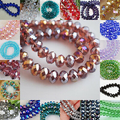 New Faceted Rondelle Jewelry Bicone Crafts Glass Crystal Beads Multicolor 8#